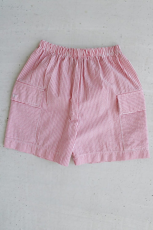 Little English Red Seersucker Pocket Shorts