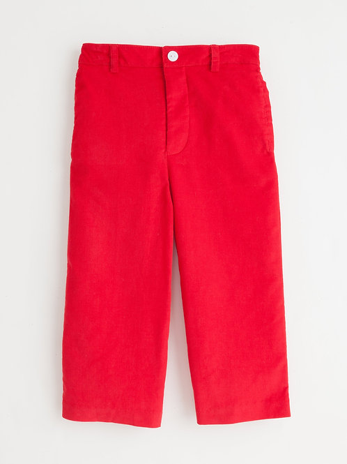 Little English Basic  Red Cord Pants-flat front