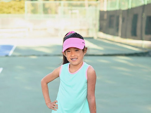 SET Athleisure Teal with Athletic Tank Top with Pink Trim