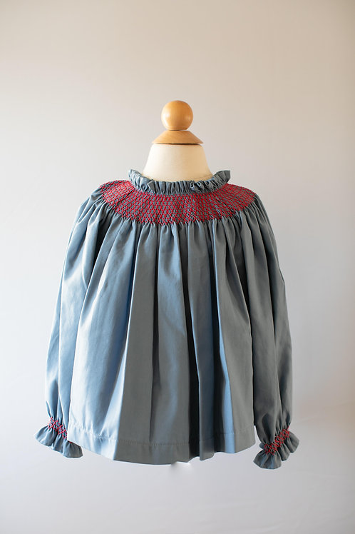 Peggy Green Addison Blouse in Atlantic Twill