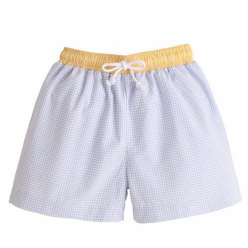 Little English Blue and Yellow Gingham Swim Trunks 6 mo