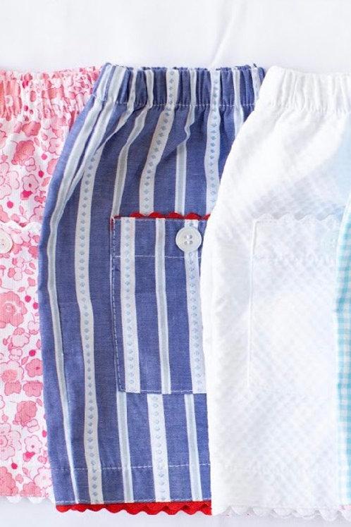Peggy Green Vineyard Stripe Shorts with Ric Rac