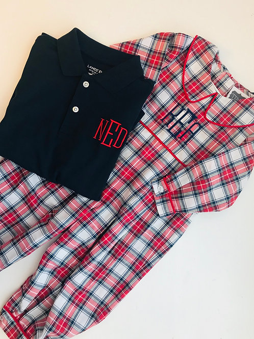 True/Honesty Navy and Red Plaid Romper