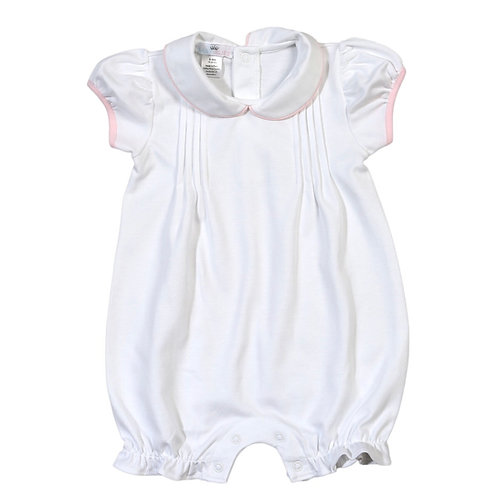 Baby Bliss Pima White Lilly Bubble with Pink Trim