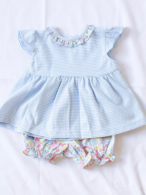 Peggy Green Ruffle Knit Bloomer Set with Churchill Floral 12/18 mo