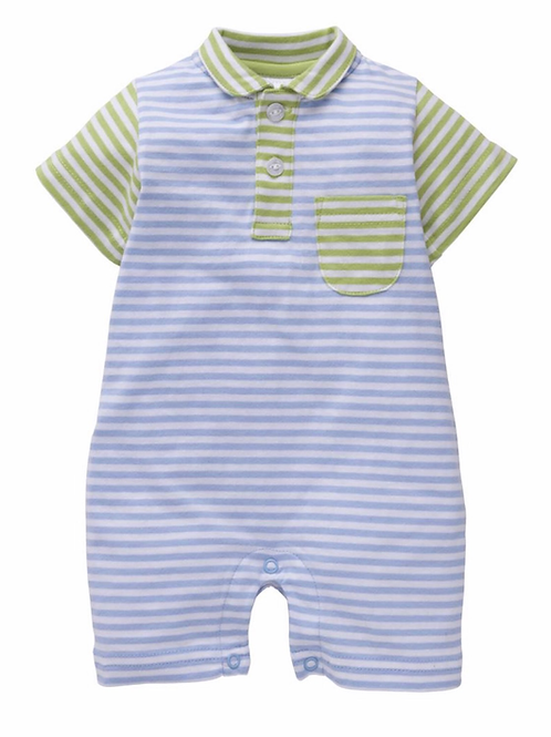Little English Peter Pan Striped Pocket Romper-Blue and Green-2T
