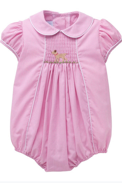 Little English Girl Lab Smocked Chest Bubble 12 mo