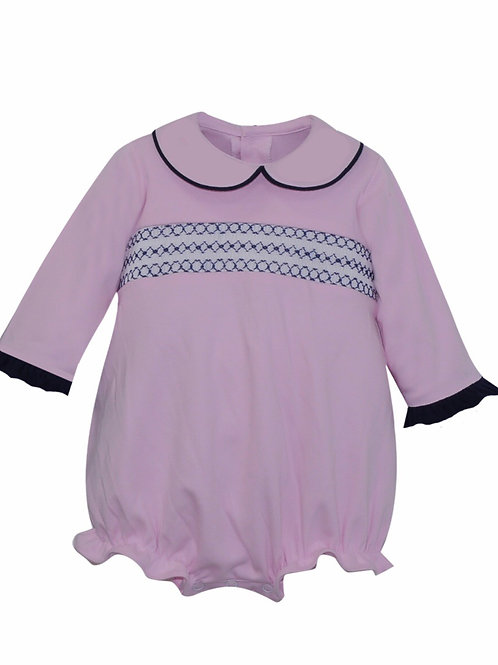 Lullaby Set Pink and Navy Smocked Bubble