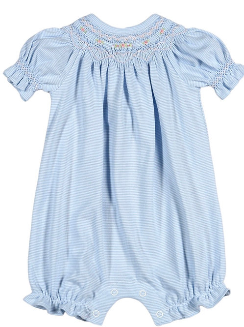 Baby Bliss Pima Light Blue Striped Smocked Bubble
