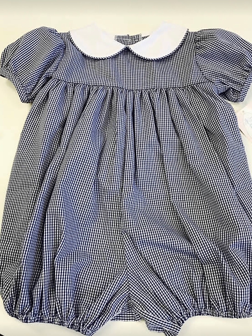 Lullaby Set Girls Navy Gingham Bubble