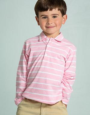 Little English Pink Striped Polo-Longsleeve