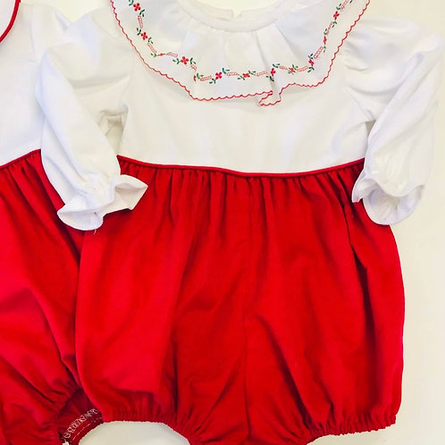 Anvy Kids Girls Floral Trim Red Cord Bubble
