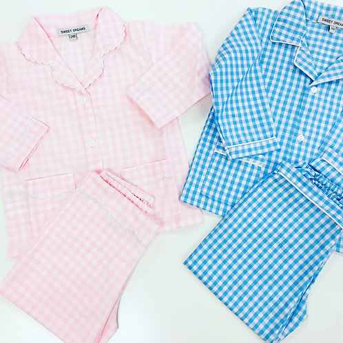 Sweet Dreams Gingham Pajamas-Pink or Light Blue size 4 blue, size 5 pink