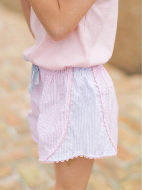 Set Athleisure Pink and Blue Seersucker Stripe Elise Shorts