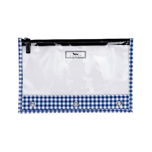 Scout Clear Pencil Bag-Navy Gingham