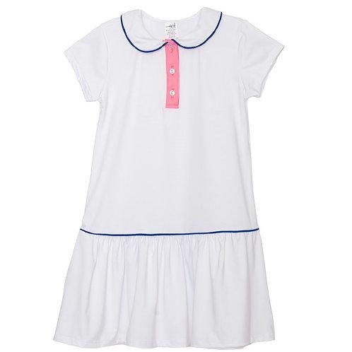 Set Athleisure Darla Dropwaist Polo Dress white/pink