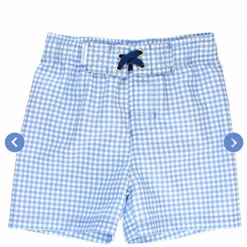 Rugged Butts Light Blue Gingham Swim Trunks