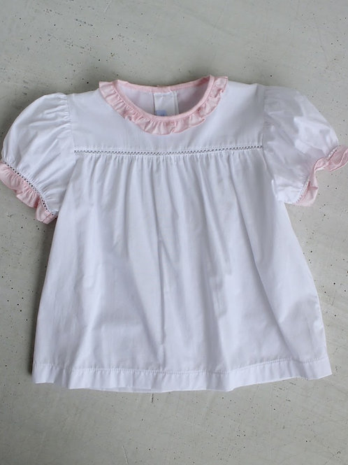 Little English Tea Blouse with Pink Ruffle