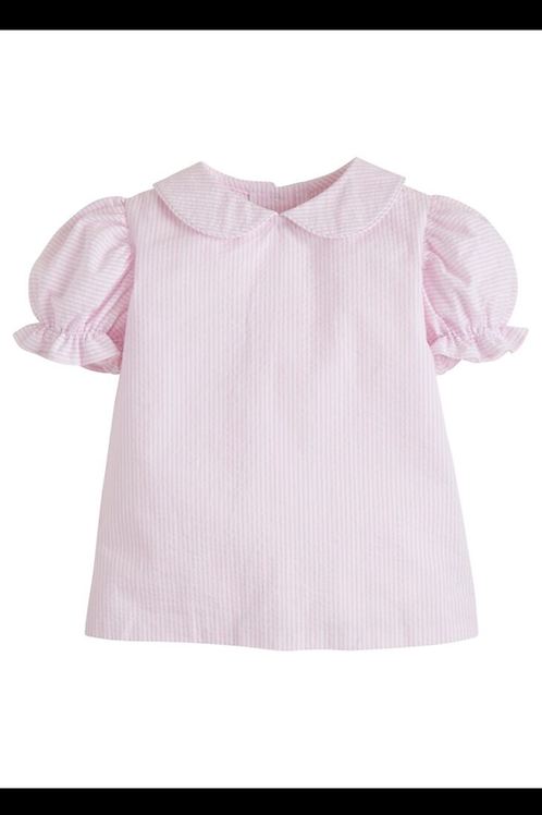 Little English Pink Seersucker Stripe Blouse