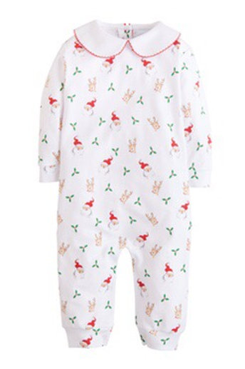 Little English Santa and Reindeer Printed Pima Playsuit