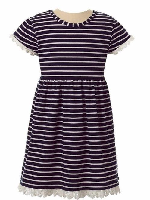 Rachel Riley Navy Striped Breton Jersey Dress 3t