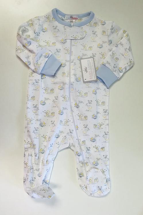 Baby Loren Pima Blue Nursery Rhymes Zipper Footie