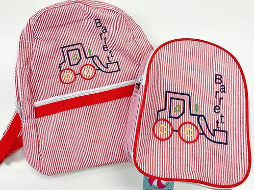 Red Seersucker Medium Backpack by Mint
