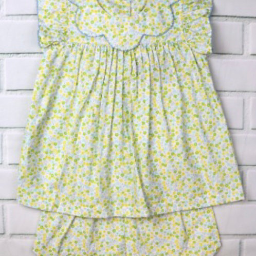 True Yellow Floral Bow Back Scallop Short Set 2t, 5