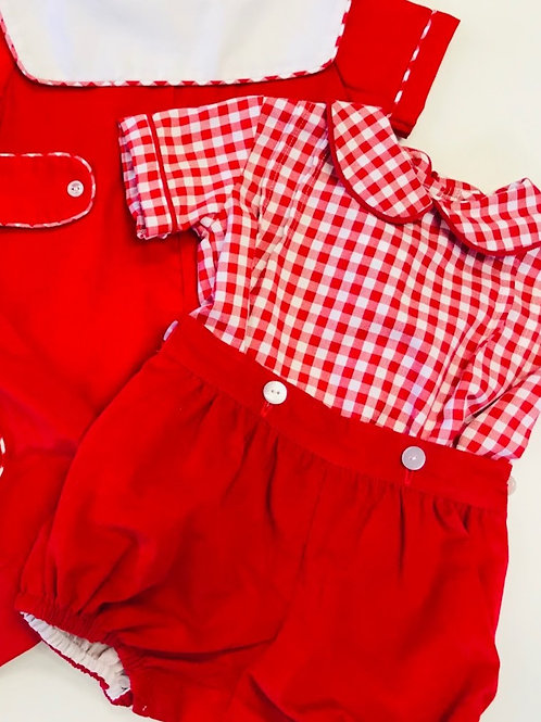 Anvy Kids Red Gingham Button-On Bubble
