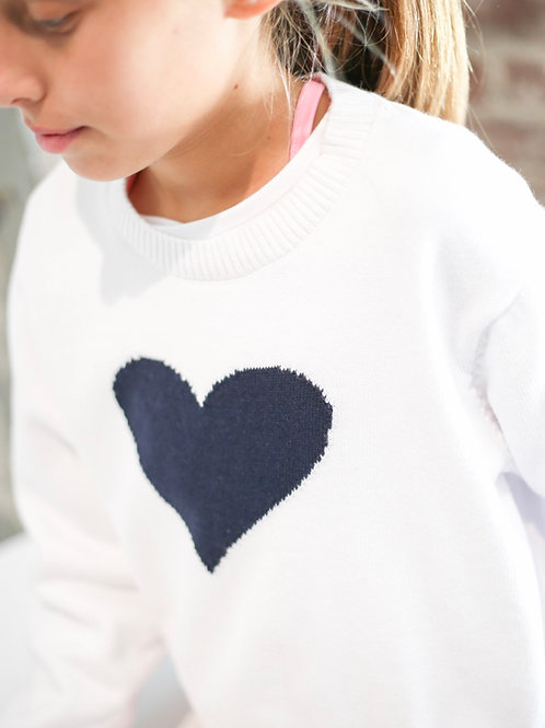 Set Athleisure White and Navy Heart Stella Sweater