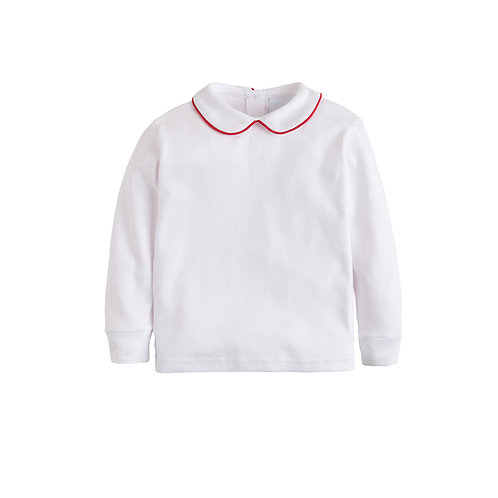 Little English Red Piped Peter Pan Knit Shirt