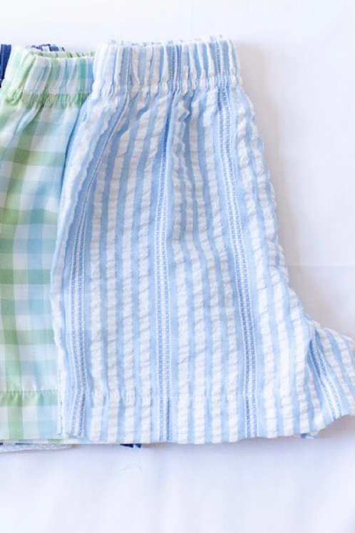 Peggy Green Blue Seersucker Stripe Boy Shorts