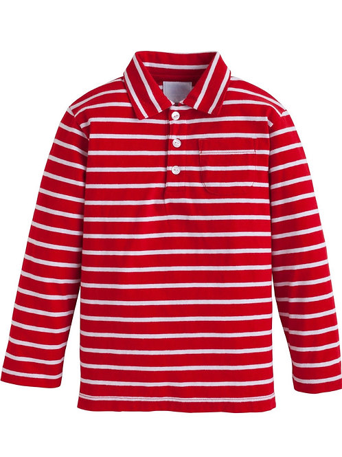 Little English Red and White Striped Eaton Polo size 5, 7
