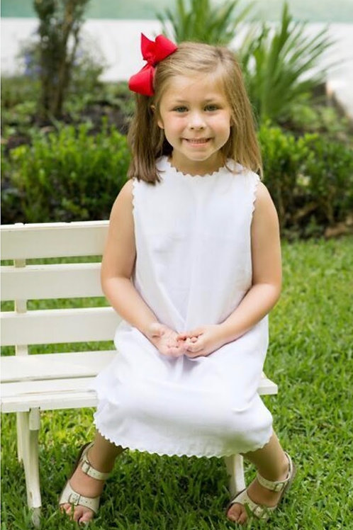 Lullaby Set White Pique Dress with White Ric Rac