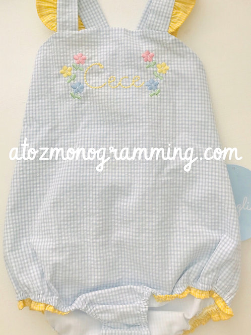 Little English Bow Back Swimsuit-Light Blue with Yellow Gingham Trim