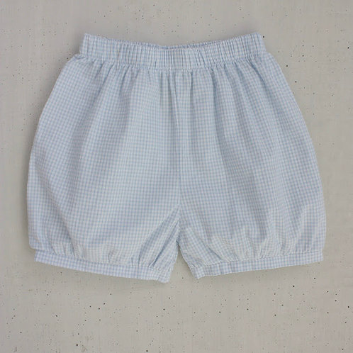 Little English Light Blue Gingham Banded Shorts