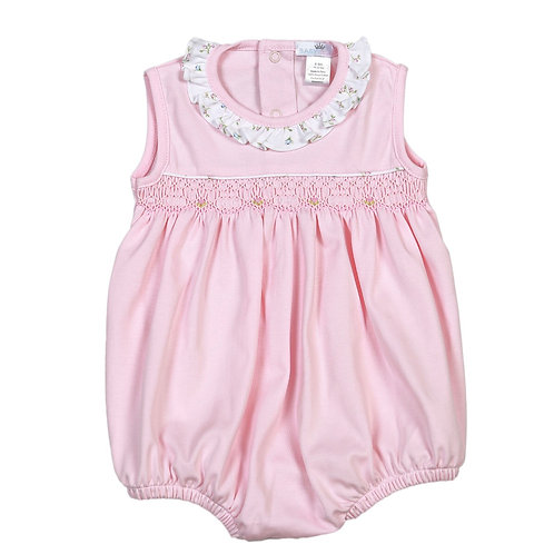 Baby Bliss Pima Pink Smocked Bubble