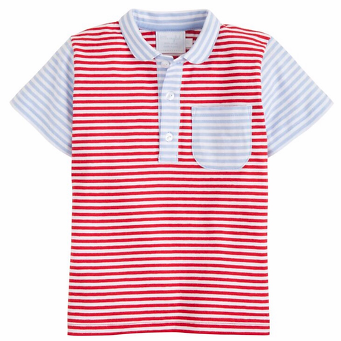 Little English Blue/Red Striped Polo