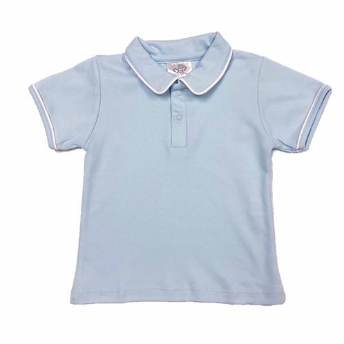 Bambinos Light Blue Solid Pima Polo