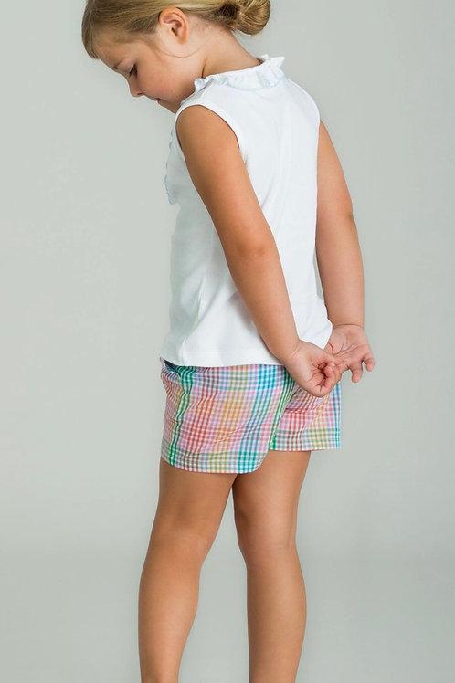 Little English Preppy Plaid Ruffle Bow Shorts (sizes 6, 7)