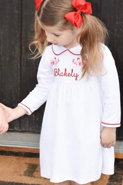 White with Red Trim Pima Twirly Dress size 6,7,8