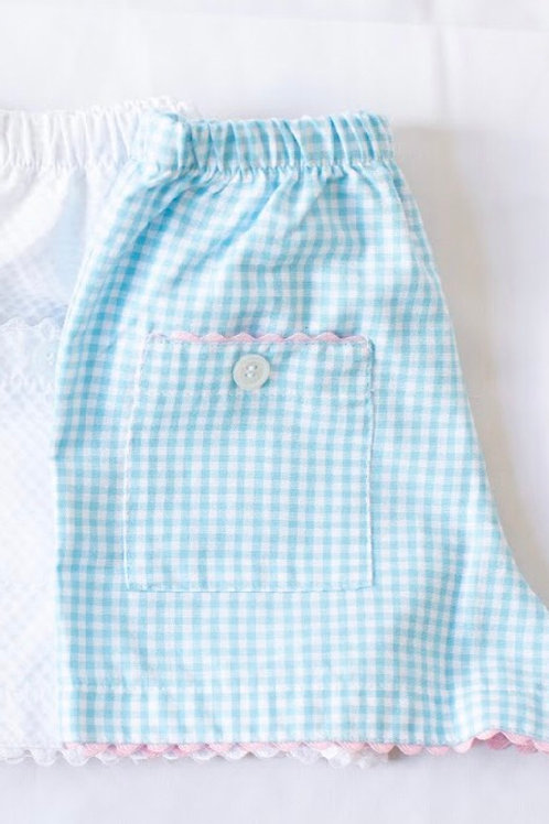 Peggy Green Pond Aqua Gingham Girl Shorts with Pink Ric Rac