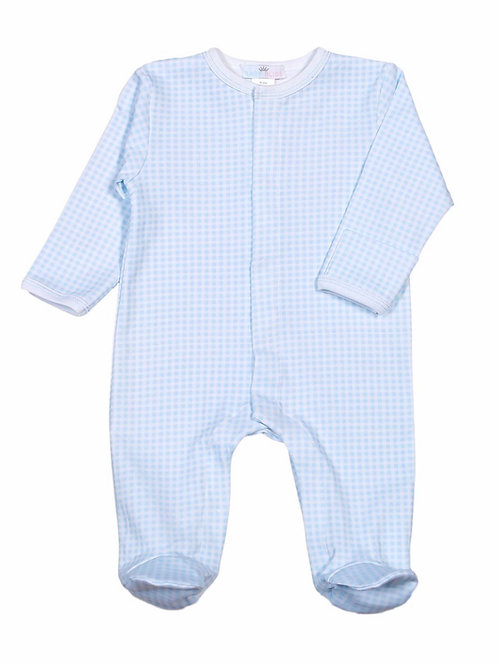 Baby Bliss Light Blue Gingham Pima Footie