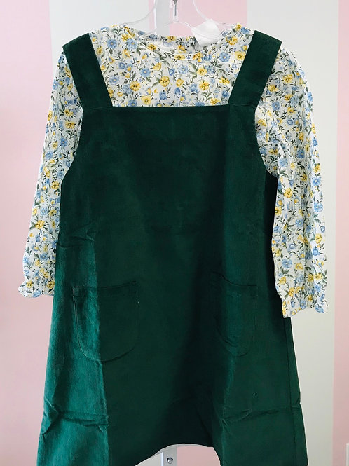 Cypress Run Green Cord and Floral Jumper Set size 5, 6