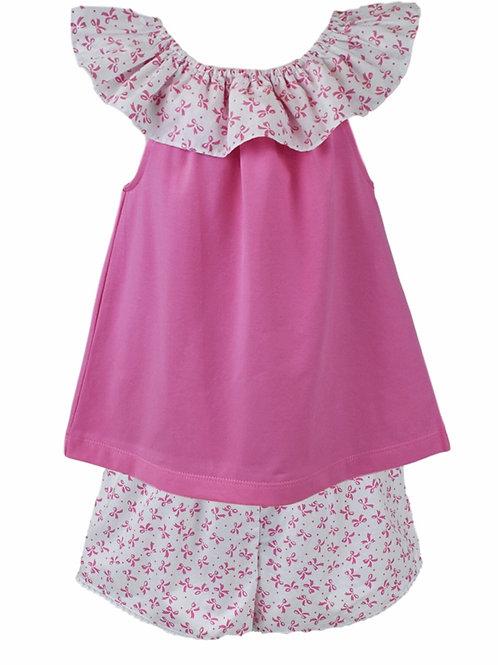 Lullaby Set Pink Bow Print Bloomer Set