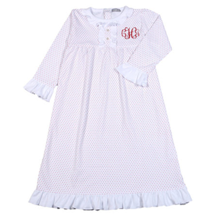 Baby Bliss Red Dot Pima Night Gown-size 7