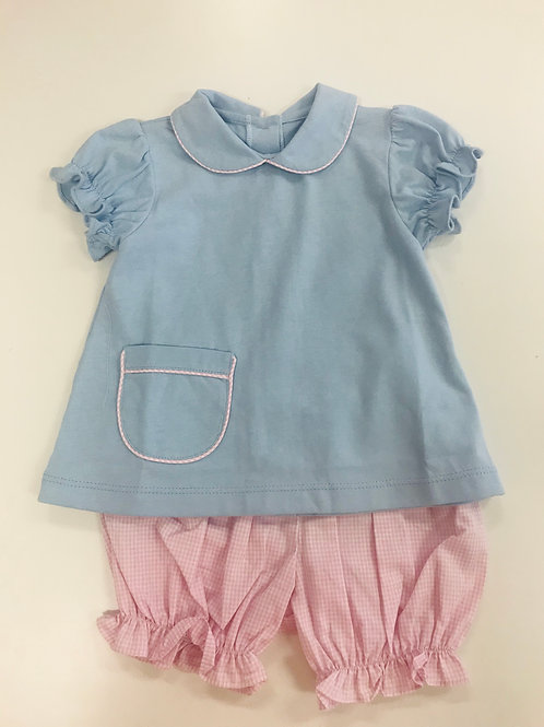 Lullaby Set Blue with pink mini gingham bloomer set