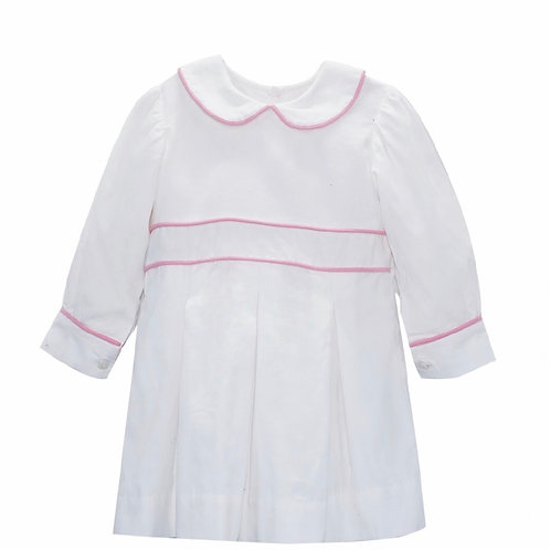 Lullaby Set White Cord Dress with Pink Piping