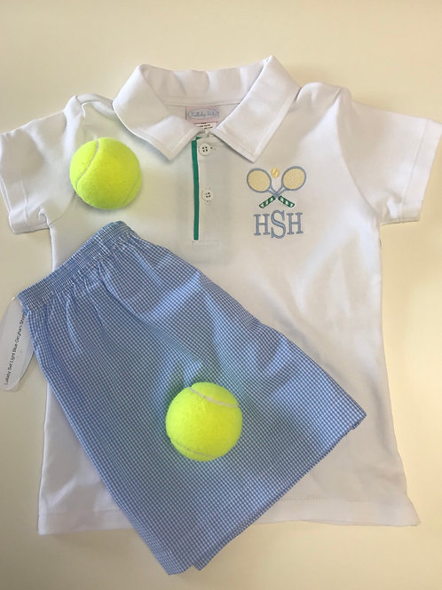 Lullaby Set White Polo with Green Placket