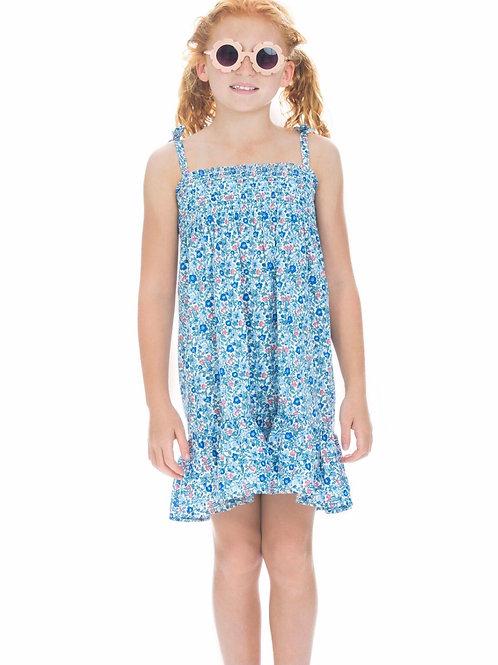 Bisby Kids Lucy Dress in Blue Petit Garden Floral